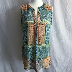 Rose & Olive Print Sleeveless Top Size Small